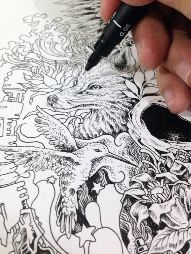 رسم دقيق ومفصل جداً بقلم حبر أسود