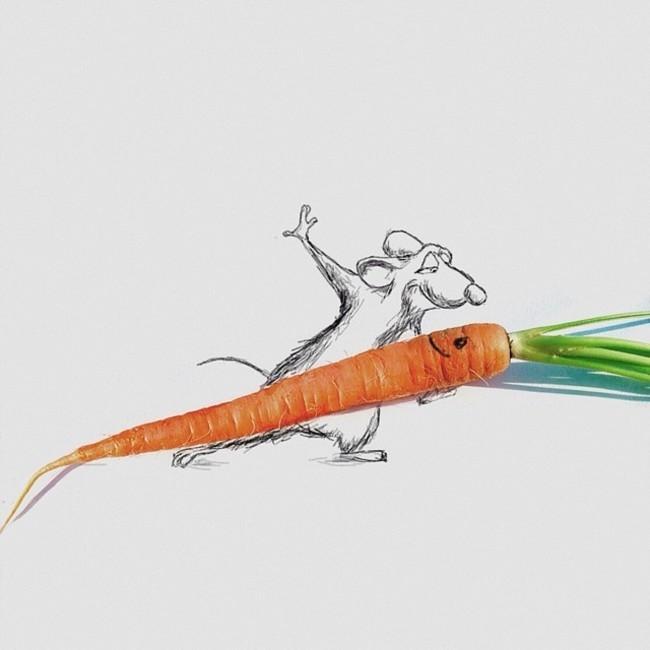 فنان يضيف رسومات ذكية حول أجسام واقعية