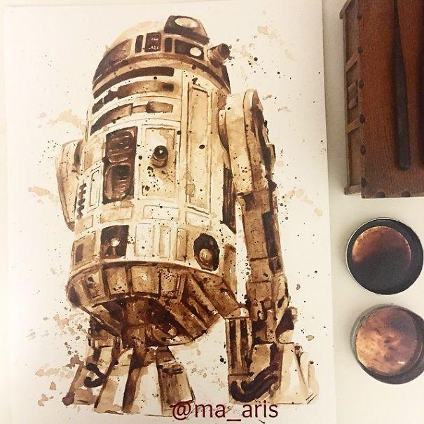 لوحات فنية مفصلة مرسومة بالقهوة