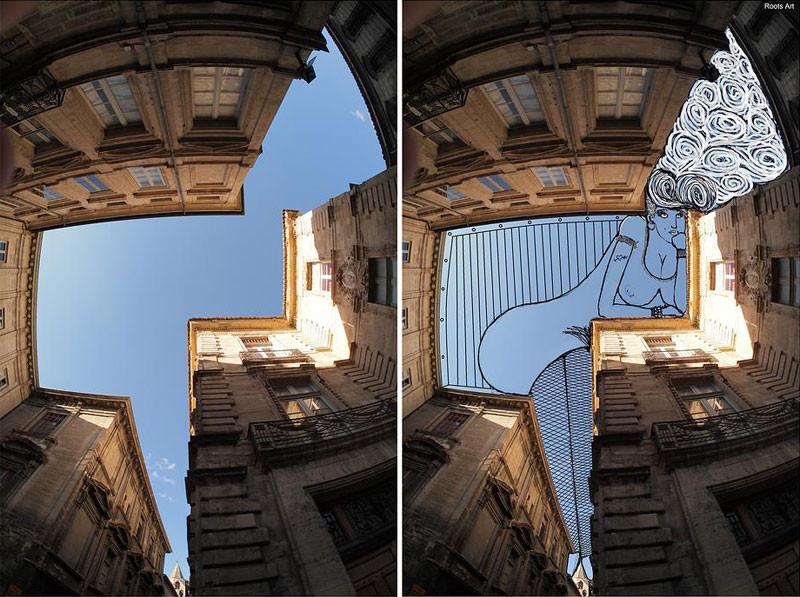 رسام يستخدم صور للسماء كخلفية لأعماله