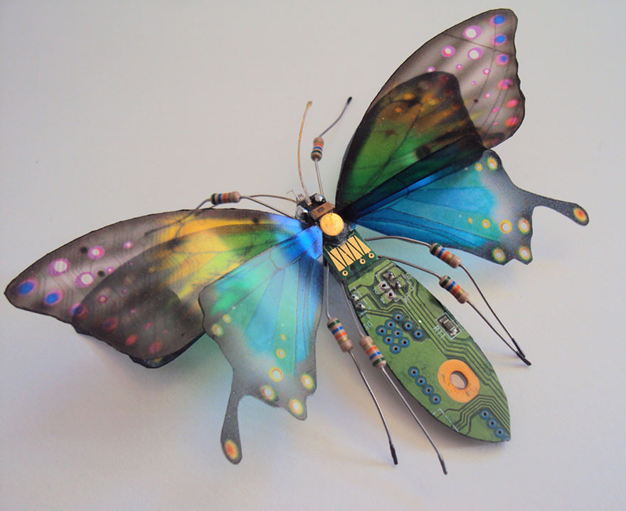 حشرات مصنوعة من لوحات إلكترونية