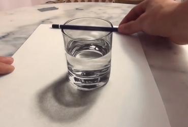 رسم 3D لكأس ماء لن تصدقه عينيك!