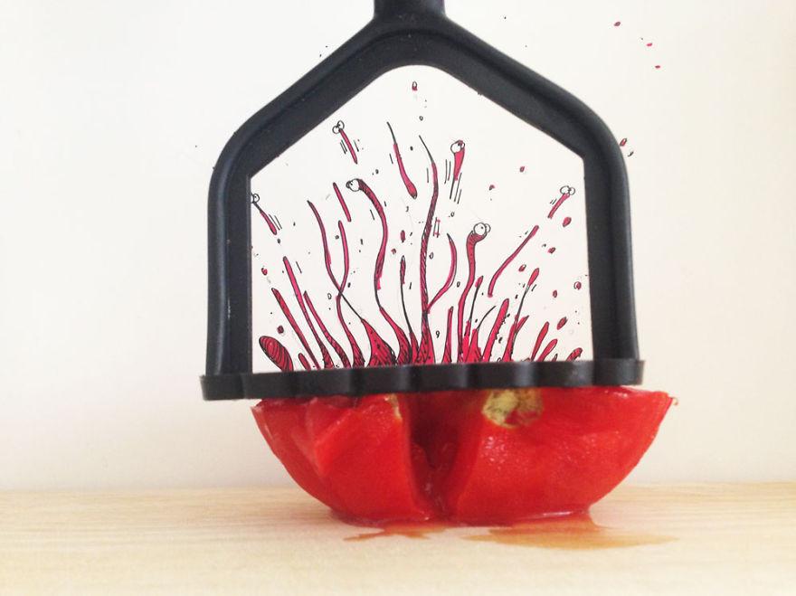 فنان تركي يستخدم الطعام في لوحاته الفنية