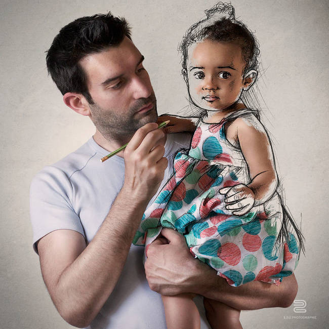 فنان يجمع بين الرسم والتصوير في صورة واحدة