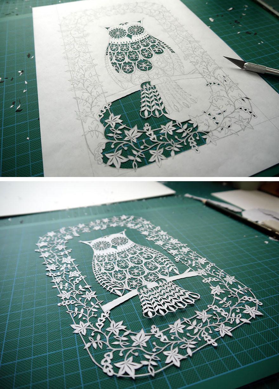 فنانة تقوم باعمال فنية مذهلة بقص الورق