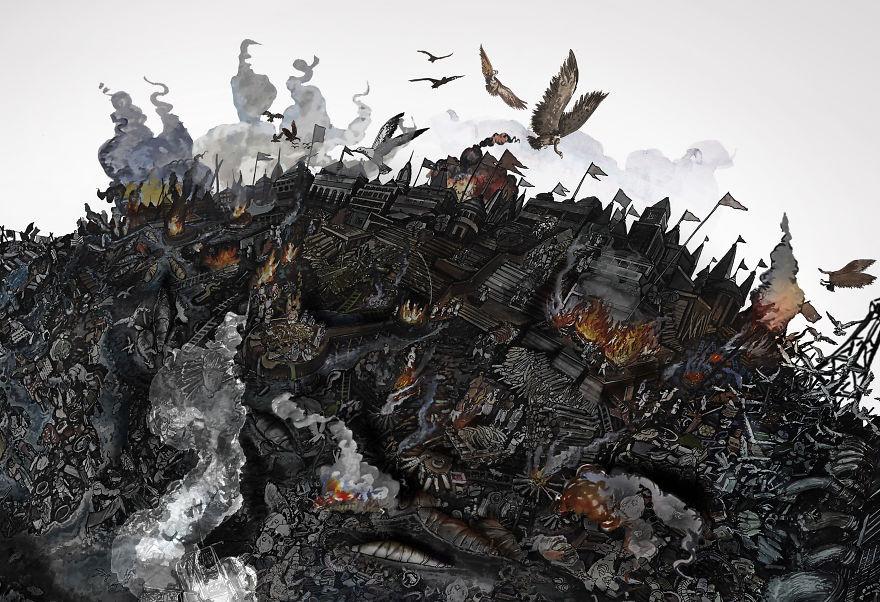 لوحات تظهر الدمار الذي حل بالأرض على يد الانسان