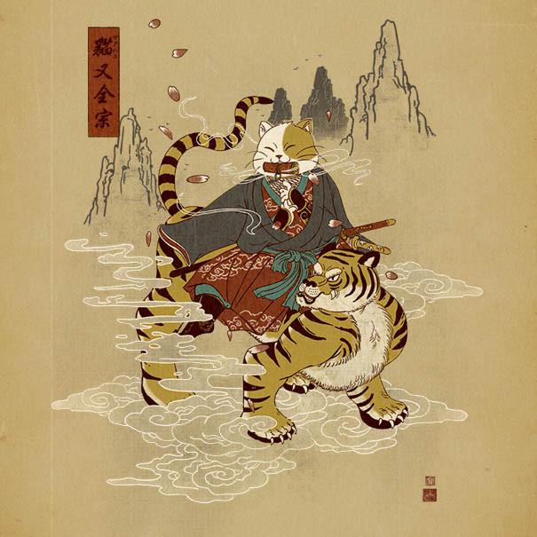 فنان يرسم قطط ساموراي مستوحاه من الثقافة اليابانية