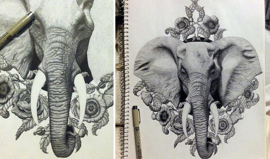 الملايين من النقاط بواسطة قلم تشكل رسومات معقدة تهدف إلى رفع مستوى الوعي البيئي