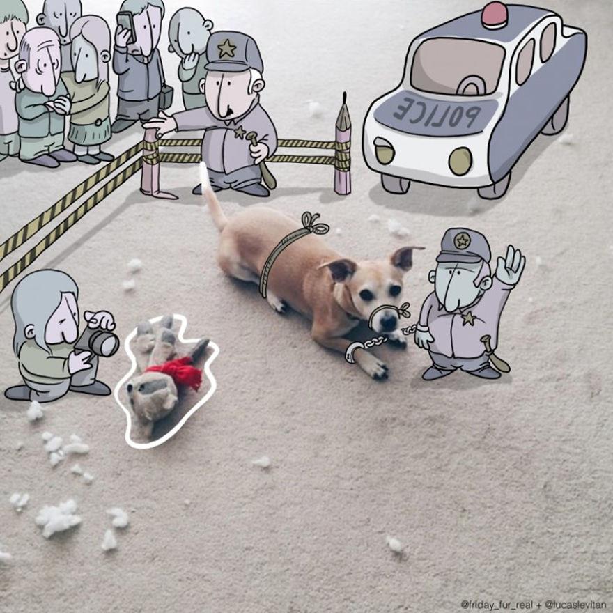 رسام يضيف شخصيات كرتونية مضحكة إلى صور الغرباء