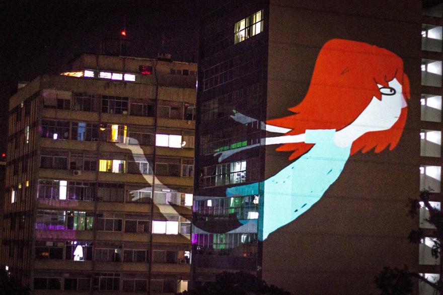 جرافيتي متحرك في شوارع مدن مختلفة