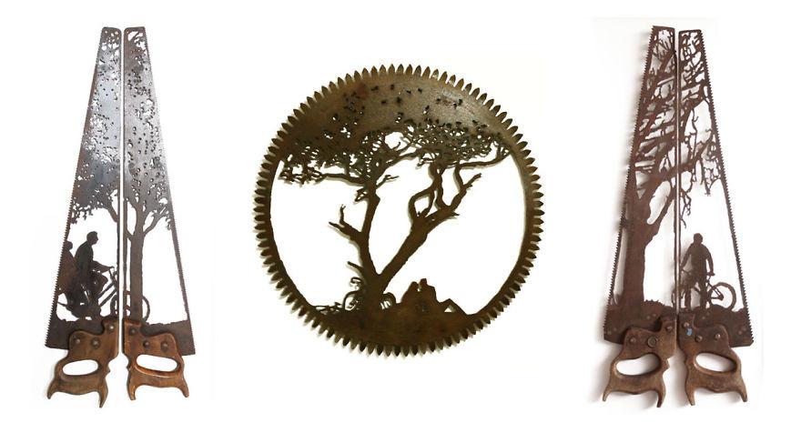 فنان يعمل على تحويل  أدوات معدنية قديمة إلى أعمال فنية