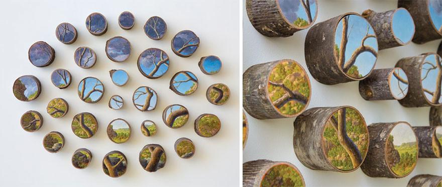 فنانة ترسم لوحات للطبيعة على جذوع الأشجارالمتساقطة