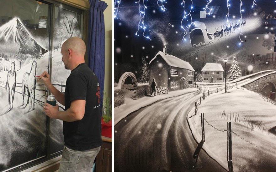 فن الثلج على الواجهات الزجاجية