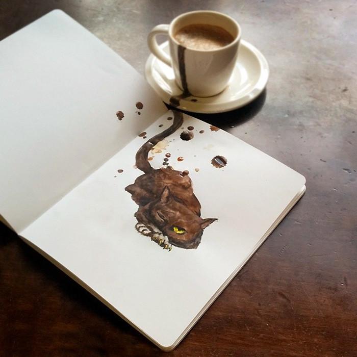 فنانة ترسم من كل نكهة قهوة قطة مختلفة