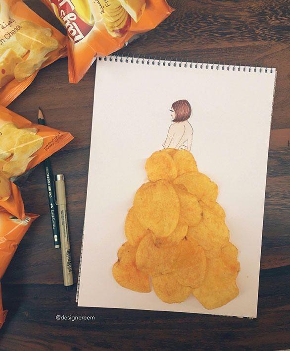 فنانة سعودية ترسم بالمكياج و الطعام و العود و الورد
