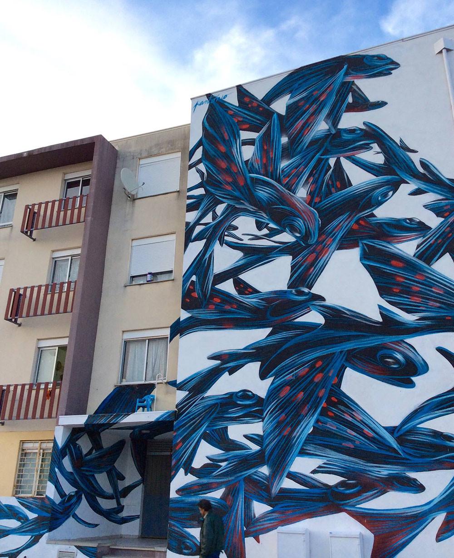 رسومات لأسراب من الكائنات على جدران مدينة البرتغال