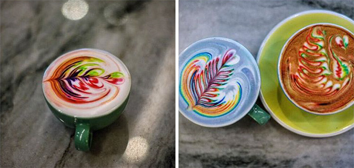 فن الزخرفة الملونة على القهوة