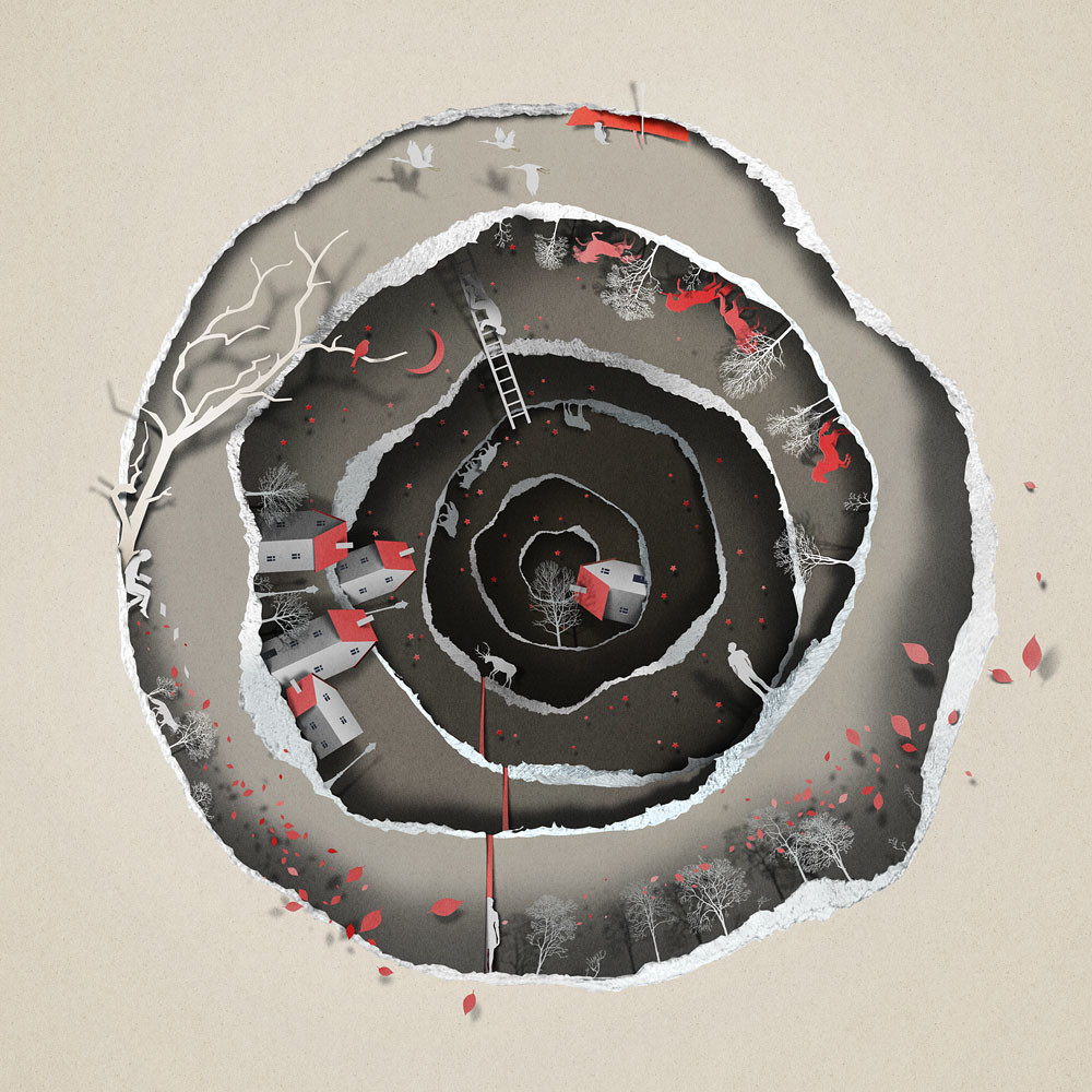 رسومات توضيحية تمنحك شعور بالعمق وكأنها قصاصات من الورق
