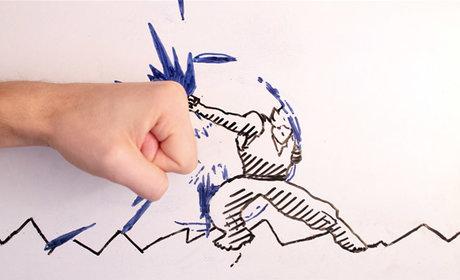 رسوم متحركة تعارك يد راسمها