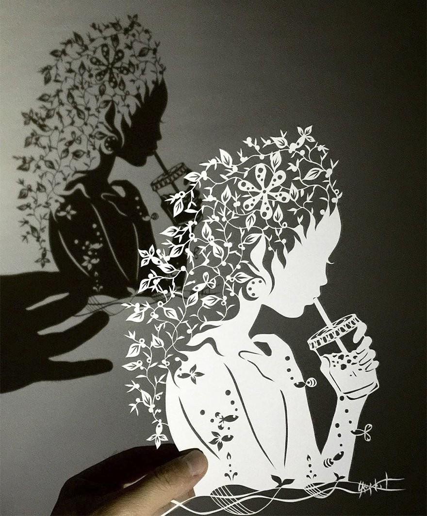 تفاصيل رائعة  في فن قص الورق للفنان الياباني ريو