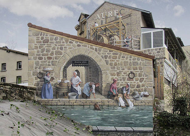 فنان فرنسي يستخدم تقنية الترمبلوي لرسم جداريات رائعة