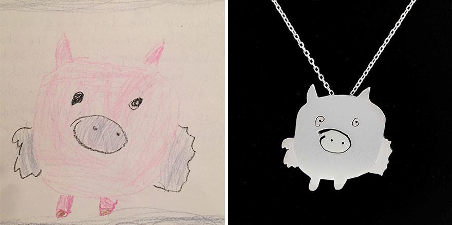 فنانتان تحولان رسومات الأطفال إلى قطع مجوهرات