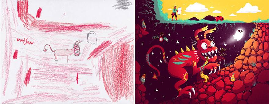 أكثر من 100 فنان يعيدون رسم أعمال الأطفال الفنية