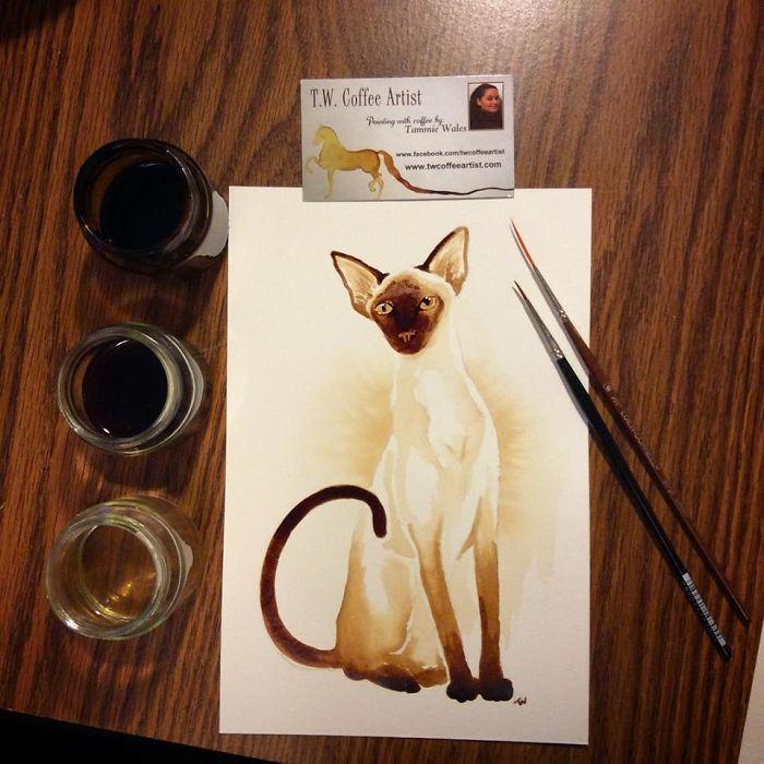 الرسم بالقهوة فقط!