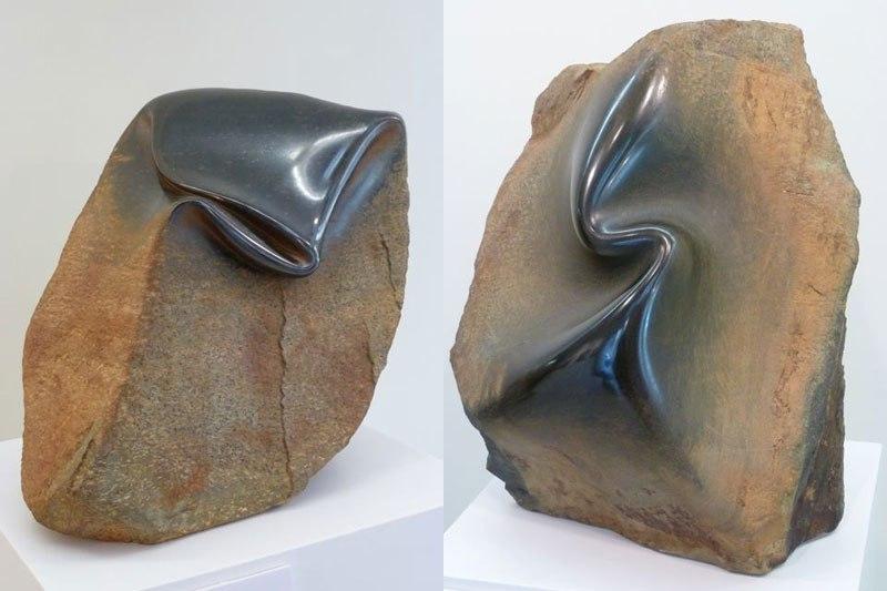 فنان يطوي ويقشر الصخر وكأنه معجون