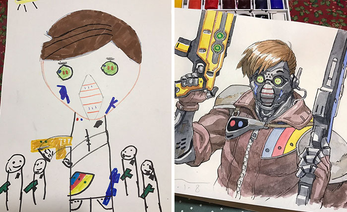 أب يحول رسومات أبنائه إلى شخصيات أنيمي