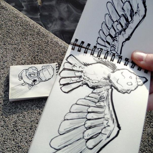 فنان يبدع برسم قصاصات فنية مبتكرة تتفاعل مع محيطها