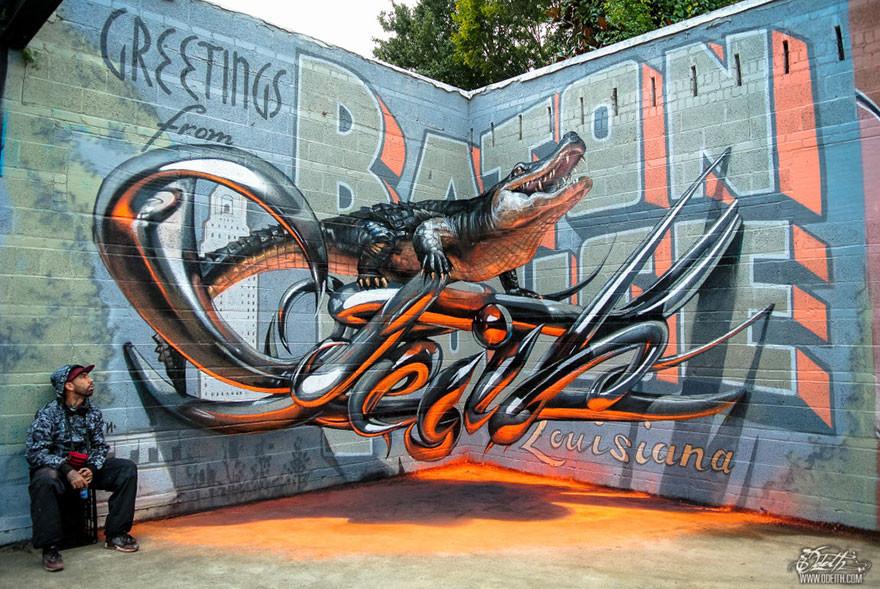 رسام جرافيتي يبدع برسم رسومات تخدع البصر