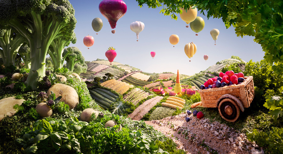 فنان يخلق مناظر خلابة بإستخدام الطعام